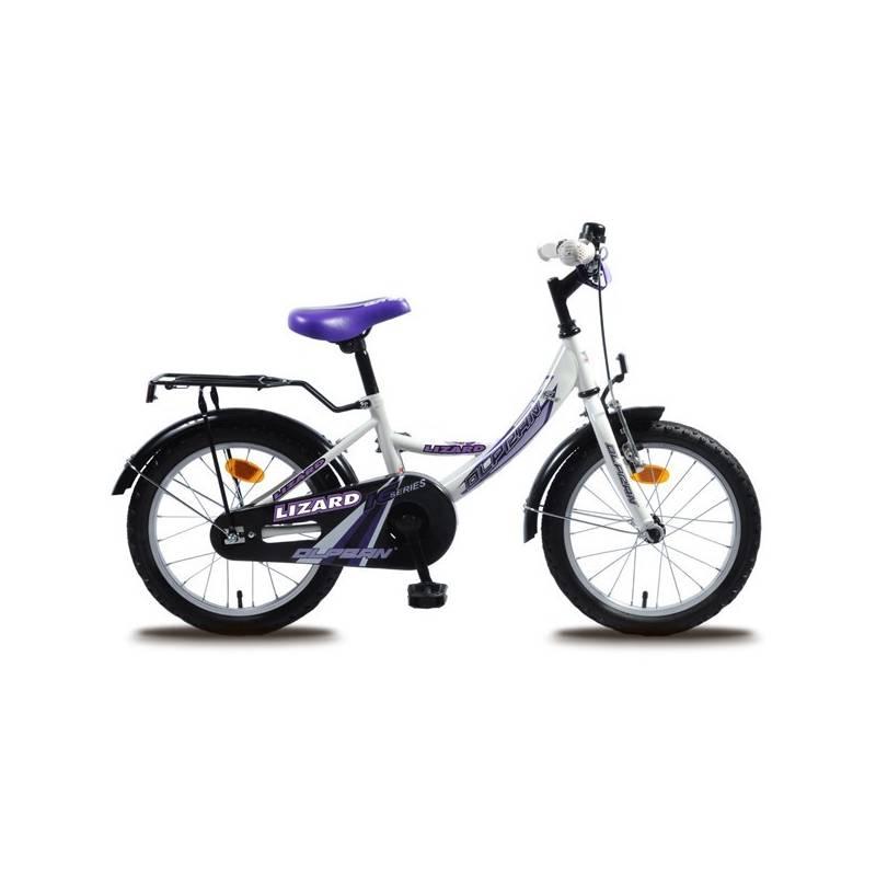 """Detský bicykel Olpran Lizard 16"""" s bezpečnostnými prvkami biely Sada cyklodoplňků (zvonek+blikačka+světlo) pro kolo dětské (zdarma)"""