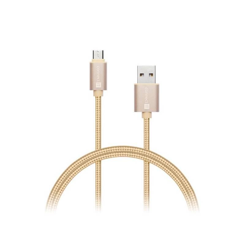 Kábel Connect IT Wirez Premium Metallic USB/micro USB, 1m (CI-966) zlatý