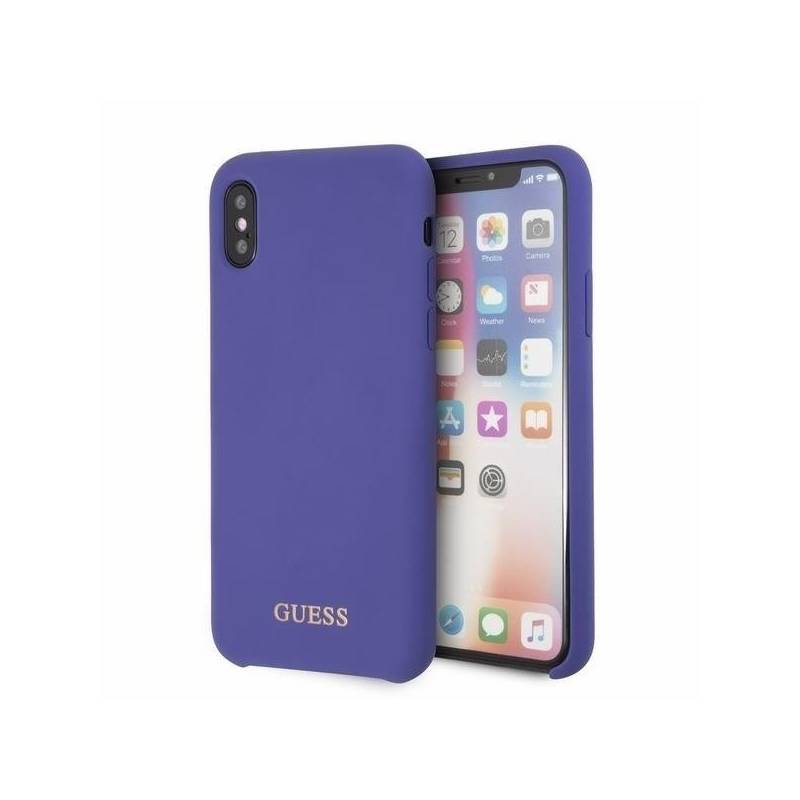 Kryt na mobil Guess Silicone Cover pro Apple iPhone X XS (GUHCPXLSGLUV)  fialový 0a8206bcd95