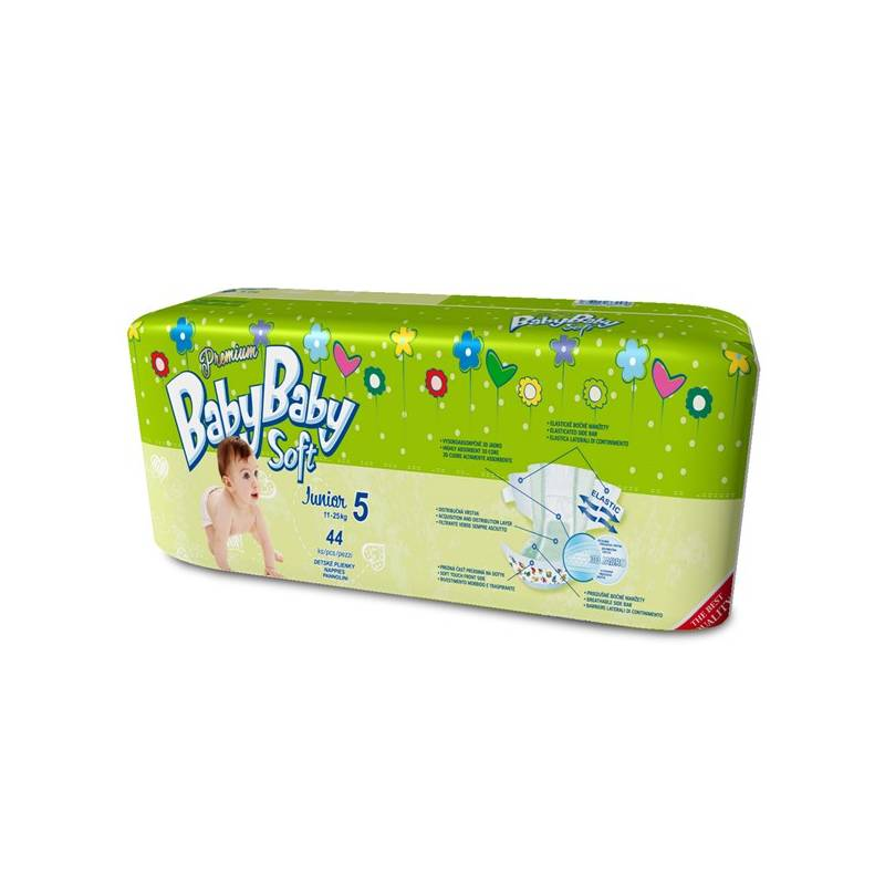 Plienky BabyBaby Soft Premium JUNIOR 44 ks - 12-25kg zelená