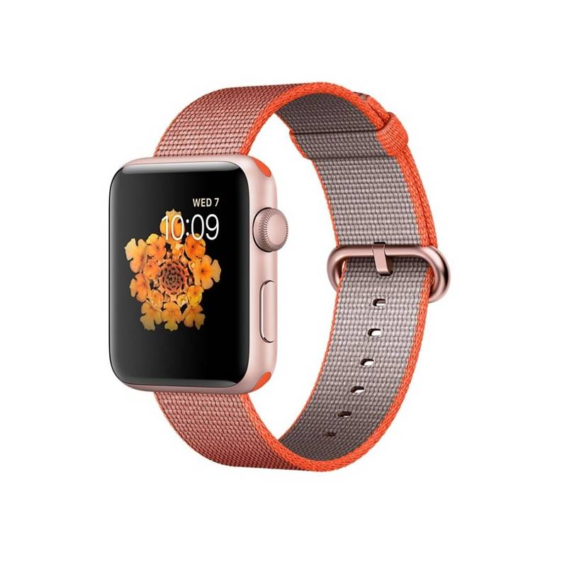 Chytré hodinky Apple Watch Series 2 42mm pouzdro z růžově zlatého hliníku – vesmírně oranžový / antracitově šedý řemínek z tkaného nylonu (MNPM2CN/A) + Doprava zadarmo