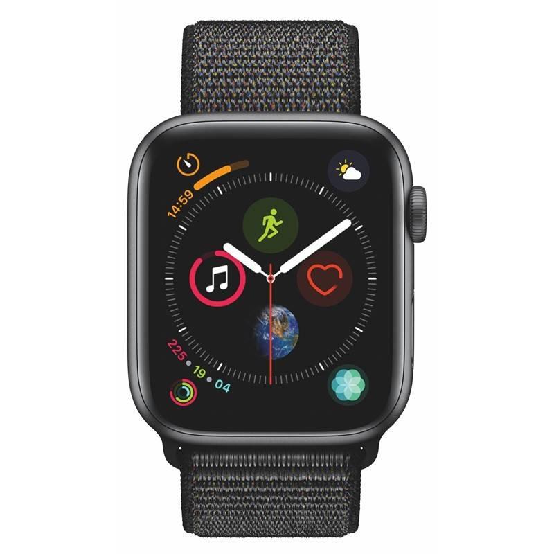 Chytré hodinky Apple Watch Series 4 GPS 44mm pouzdro z vesmírně šedého hliníku - černý provlékací sportovní řemínek SK verze (MU6E2VR/A) + Doprava zadarmo