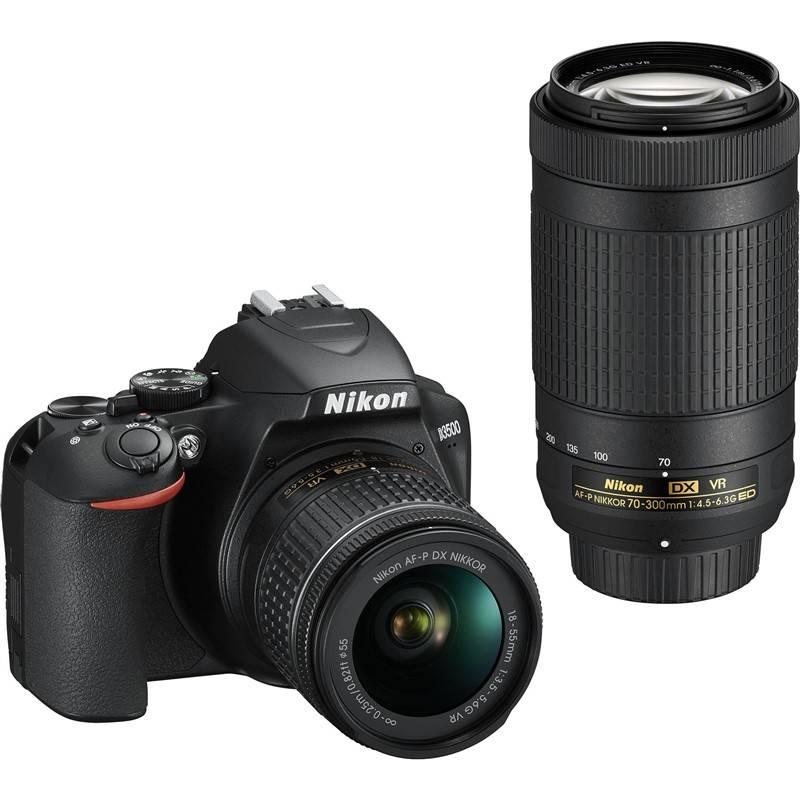 Digitálny fotoaparát Nikon D3500 + AF-P DX 18-55mm VR + AF-P DX 70-300mm VR (VBA550K005) čierny