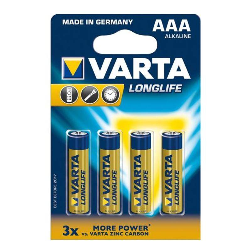 Batéria alkalická Varta Longlife, AAA, 4 ks