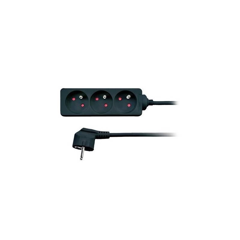 Kábel predlžovací Solight 3 zásuvky 2m čierny + Doprava zadarmo
