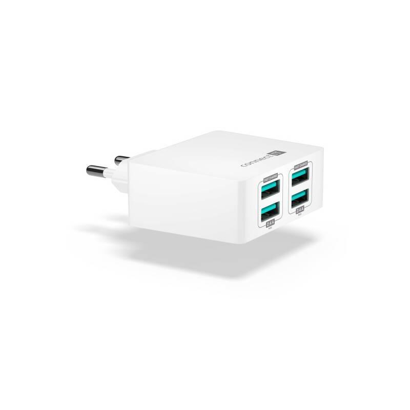 Nabíjačka do siete Connect IT Fast Charge 4x USB, 4,8A s funkcí rychlonabíjení (CWC-4010-WH) biela