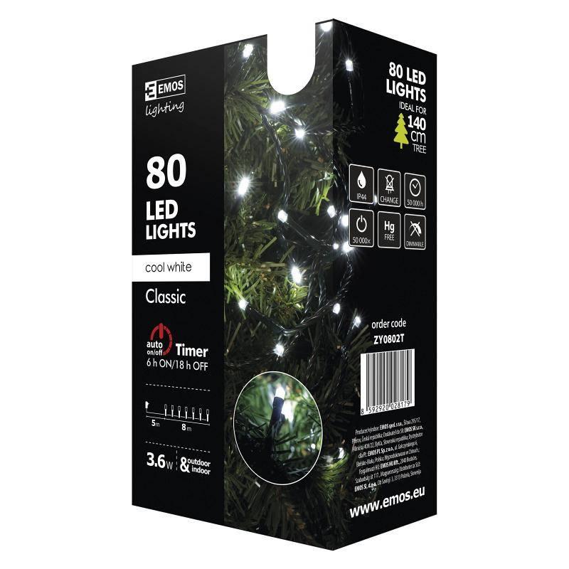Vianočné osvetlenie EMOS 80 LED, 8m, řetěz, studená bílá, časovač, i venkovní použití (1534080025)