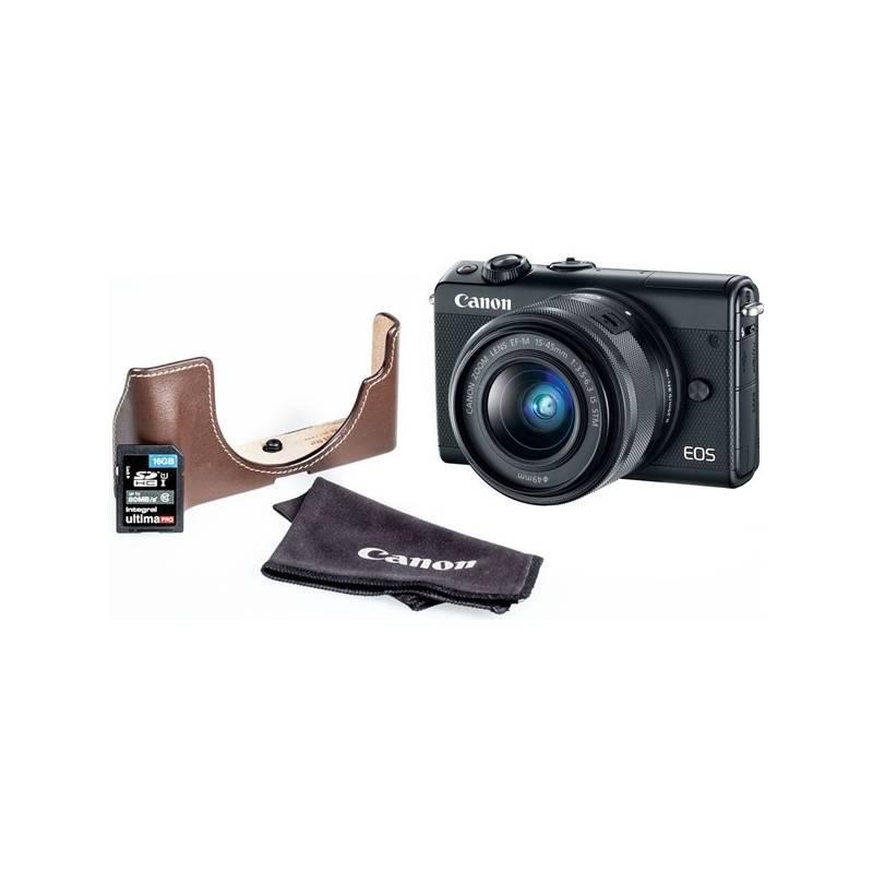 Digitálny fotoaparát Canon EOS M100 + EF-M 15-45mm + EH31FJ + 16GB (2209C098) čierny + Doprava zadarmo