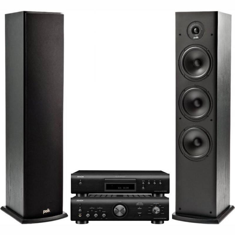 CD přehrávač Denon DCD-600NE + zesilovač PMA-600NE + reproduktory Polk T50 2 ks černý