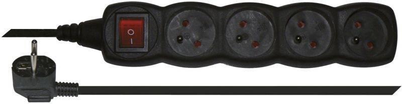 Kabel prodlužovací EMOS 4x zásuvka, 3m, vypínač (1902340300) černý