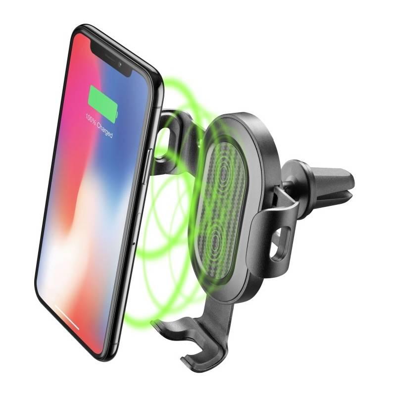 Držiak na mobil CellularLine Handy Wing s bezdrátovou nabíječkou, do ventilace (HANDYWINGWIRELESSK) čierny
