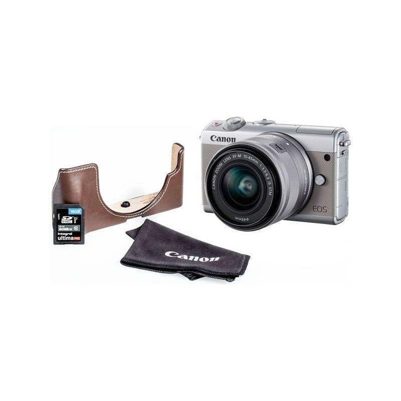 Digitálny fotoaparát Canon EOS M100 + EF-M 15-45mm + EH31FJ + 16GB (2211C069) sivý + Doprava zadarmo