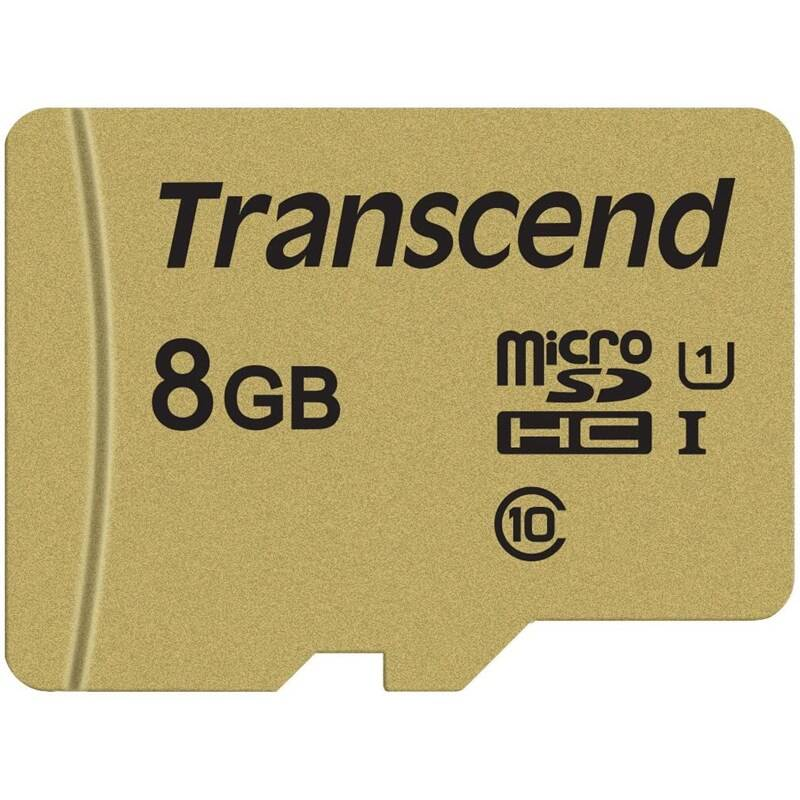 Pamäťová karta Transcend 500S microSDHC 8GB UHS-I U1 (Class 10) (95R/60W) + adapter (TS8GUSD500S)