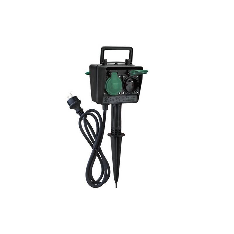 Kábel predlžovací Solight zahradní sloupek IP44, 4 zásuvky, gumový kabel 1,5m (PG02)