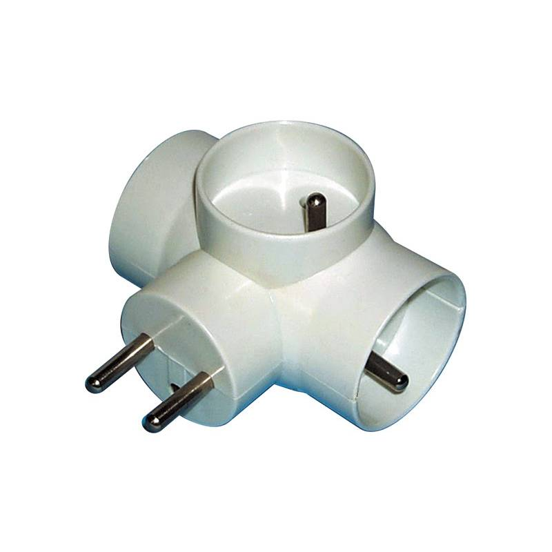 Zásuvka EMOS rozbočovací 3 x kulatá, P0024 (E2010) biela
