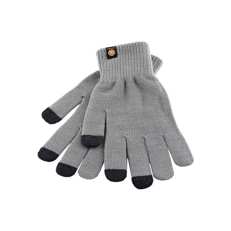 Rukavice GoGEN pro dotykové displeje velikost L (GOGRUKAVICELG) šedá barva