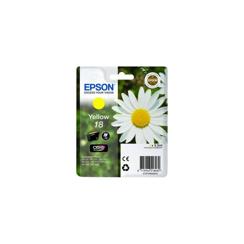 Cartridge, toner Epson T1804, 180 stran - originální (C13T18044010) žltá