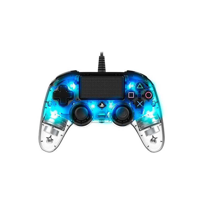 Gamepad Nacon Wired Compact Controller pro PS4 (ps4hwnaconwicccblue) modrý/priehľadný