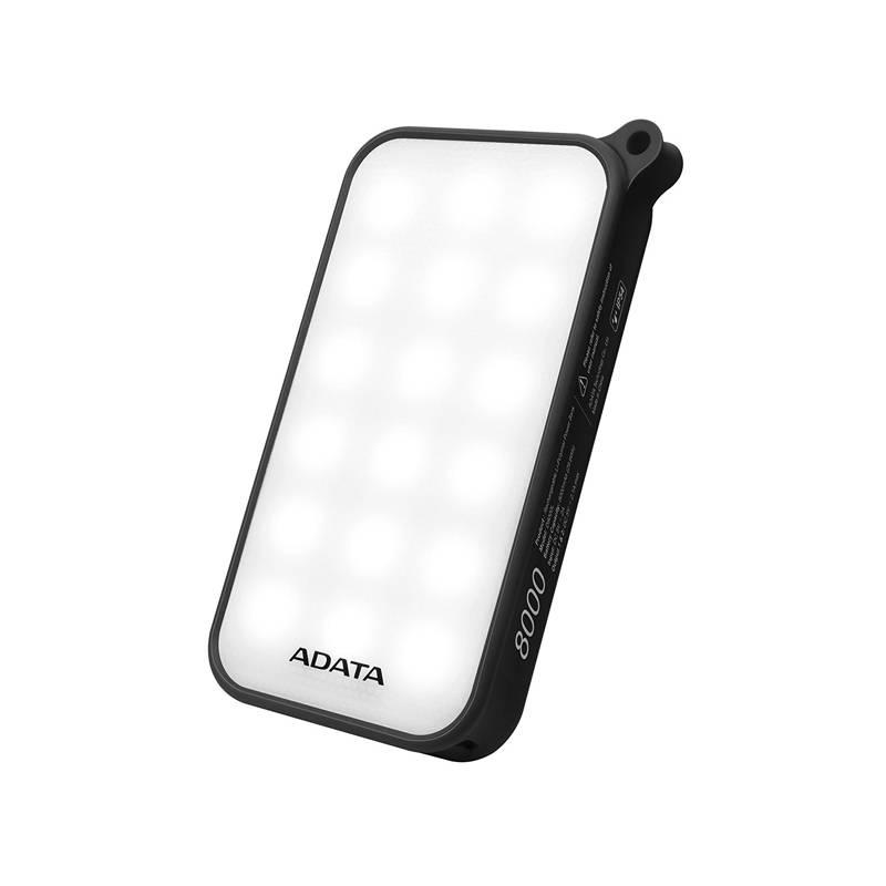 Power Bank ADATA D8000L 8000mAh, outdoor LED svítilna (AD8000L-5V-CBK) čierna