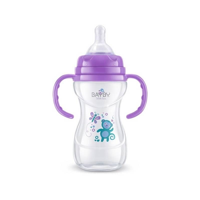 Dojčenská fľaška BAYBY BFB 6107 240 ml 6m+ fialová