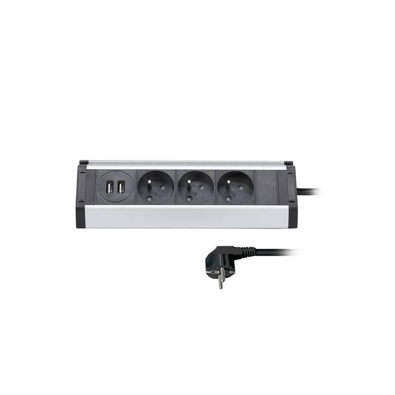 Kábel predlžovací Solight 3x zásuvka, 2x USB, rohový design, 1,5m (PP104USB) strieborný + Doprava zadarmo