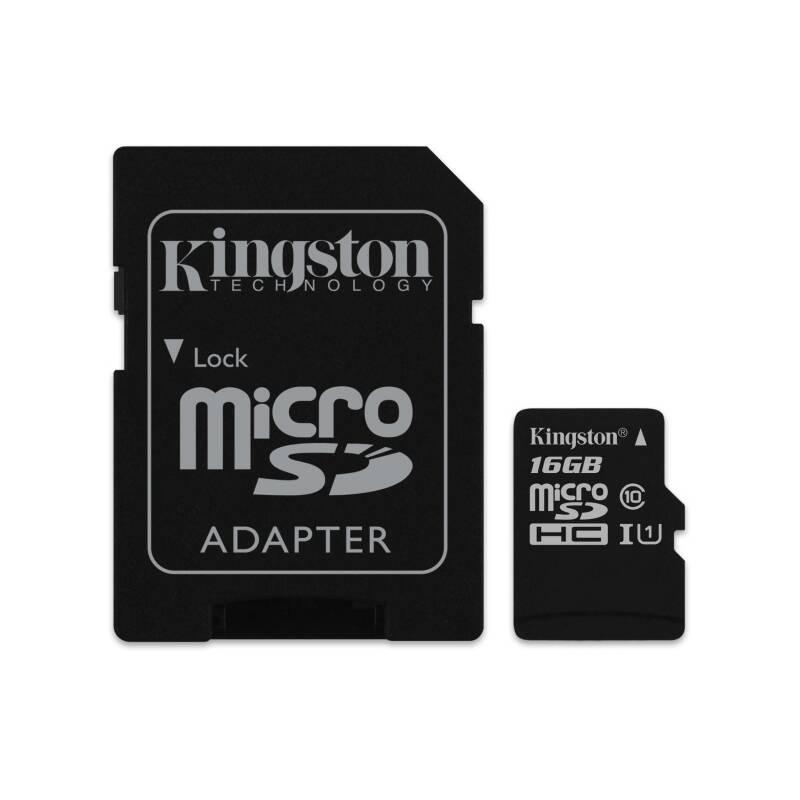 Pamäťová karta Kingston Canvas Select MicroSDHC 16GB UHS-I U1 (80R/10W) + adapter (SDCS/16GB)
