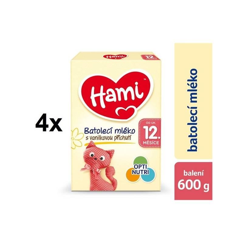 Dojčenské mlieko Hami 3 Vanilka od ukočeného 12. měsíce, 600g x 4ks + DÁREK