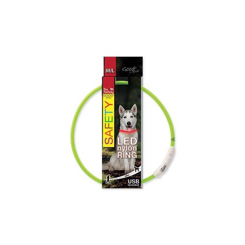 Obojok Dog Fantasy LED nylonový M/L zelený