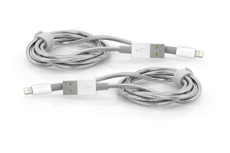 Kábel Verbatim USB/Lightning, 1m + 1m (48872) strieborný