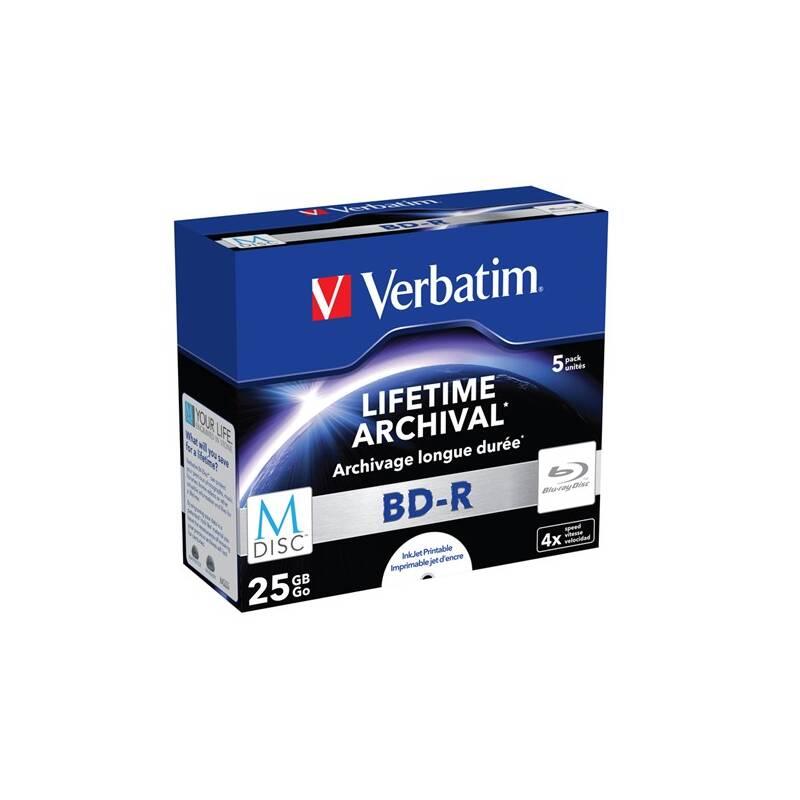 Disk Verbatim Printable BD-R M-Disc 25GB, 4x, jewel box, 5ks (43823)
