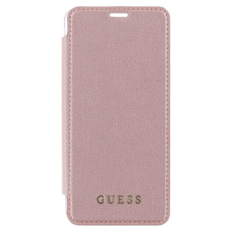 Puzdro na mobil flipové Guess Iridescent Book Case pro Samsung Galaxy S9 (GUFLBKS9IGLTRG) ružové