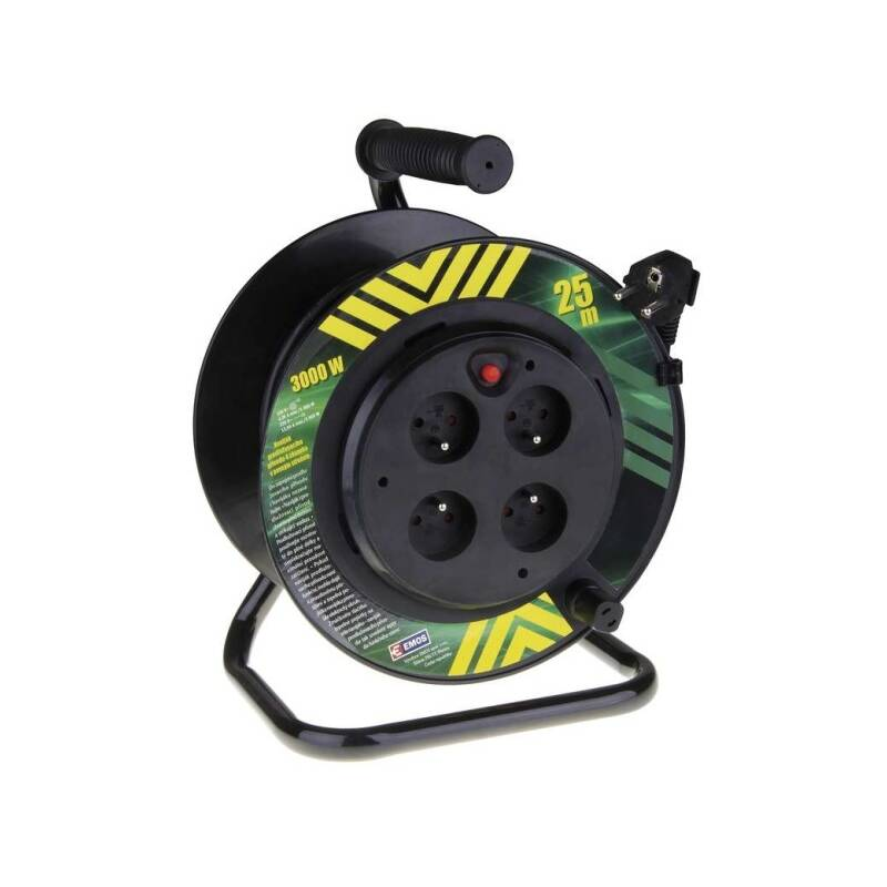 Kabel prodlužovací na bubne EMOS 4x zásuvka, 25m, pevný střed (1908042510) čierny