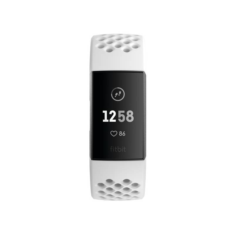 Fitness náramok Fitbit Charge 3 speciální edice (NFC) - Graphite, White Silicone (FB410GMWT-EU)