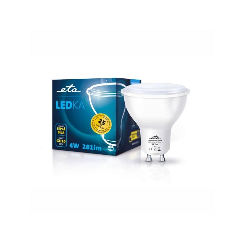 LED žiarovka ETA EKO LEDka bodová, 4W, GU10, teplá bílá (GU10-PR-281-16A)