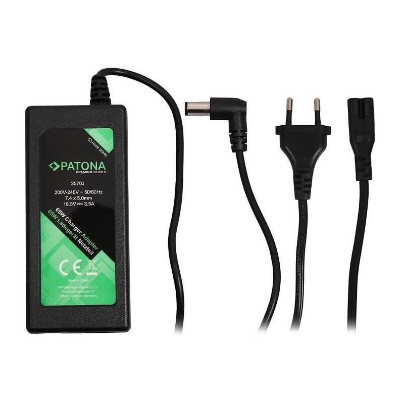 Sieťový adaptér PATONA pro notebooky HP, 18,5V, 3,5A, 65W, konektor 7,4x5mm+pin (PT2570)