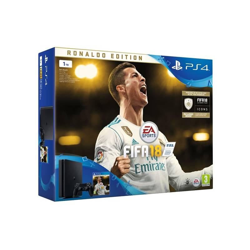 Herná konzola Sony PlayStation 4 SLIM 1TB + FIFA18 Ronaldo Edition + PS Plus 14 dní (PS719916765) čierna + Doprava zadarmo