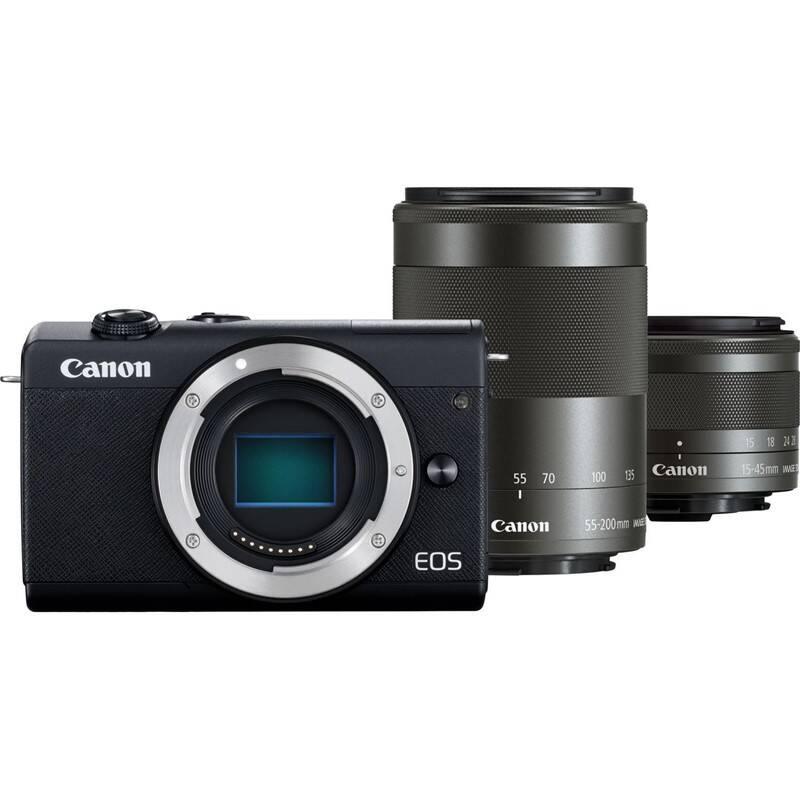 Digitálny fotoaparát Canon EOS M200 + EF-M 15-45 IS STM + EF-M 55-200 IS STM (3699C018) čierny + Doprava zadarmo