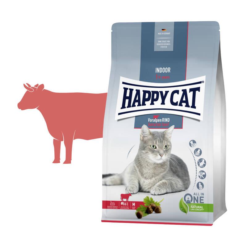 Granuly HAPPY CAT Adult Indoor Voralpen-Rind / Alpské hovädzie 4 kg