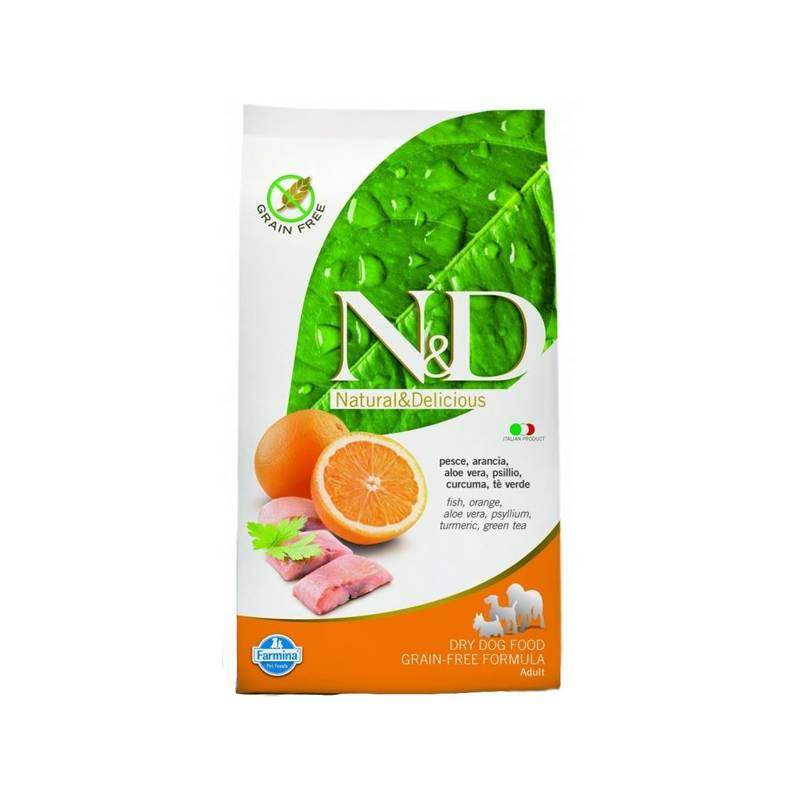 Granule N&D Grain Free DOG Adult Mini Fish & Orange 7 kg Antiparazitní obojek Scalibor Protectorband pro psy - 48 cm