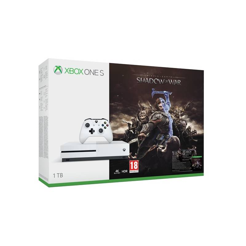 Herná konzola Microsoft Xbox One S 1 TB + Middle-earth: Shadow of War (234-00189)