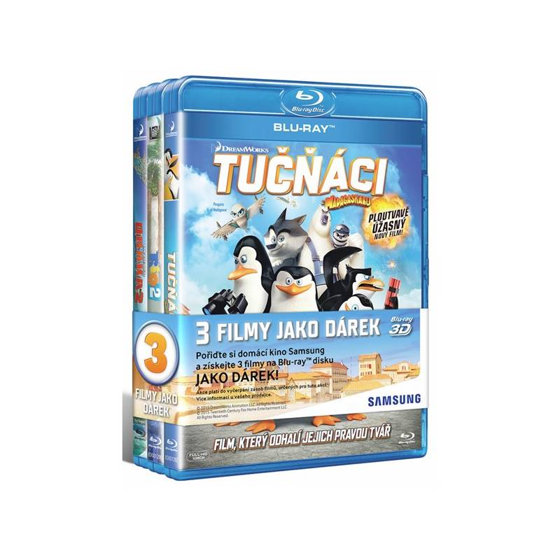 3x filmy na Blu-ray Jak vycvičit draka 2, Tučňáci z Madagaskaru, Rio 2