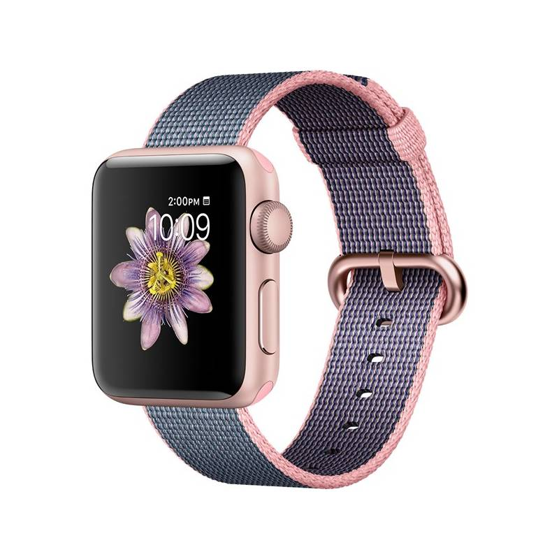 Chytré hodinky Apple Watch Series 2 38mm pouzdro z růžově zlatého hliníku – světle růžový / půlnočně modrý řemínek z tkaného nylonu (MNP02CN/A) + Doprava zadarmo
