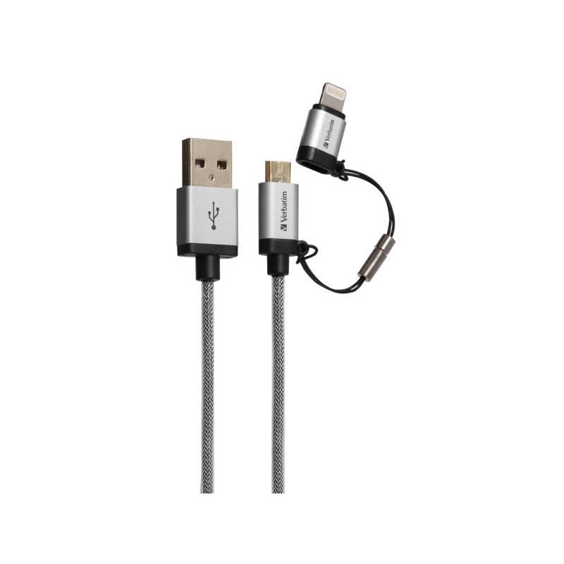 Kábel Verbatim Sync & Charge USB/micro USB + Lightning, 1,2m, oplétaný (48857) strieborný