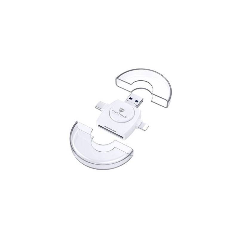 Čítačka pamäťových kariet Viking SD, Micro SD 4v1, OTG, s koncovkou Lightning/Micro USB/USB 3.0/USB-C (VR4V1W) biela