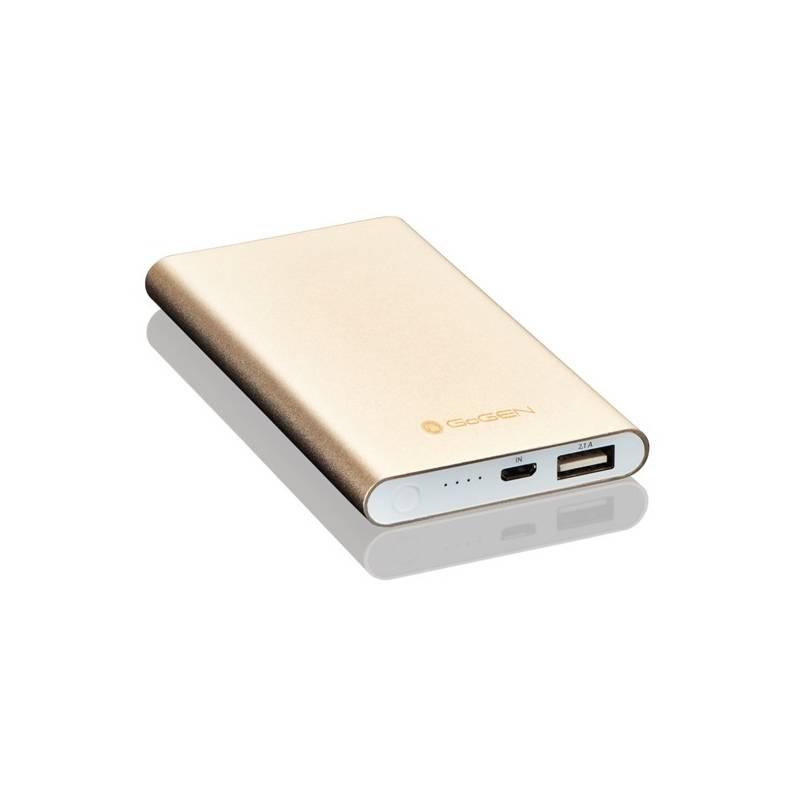 Power Bank GoGEN 5000mAh, slim (GOGPB50001M) hliník/zlatá