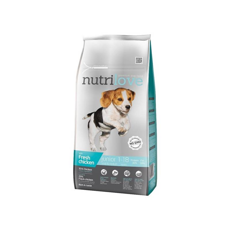 Granule Nutrilove Dog dry Junior S-M fresh chicken 8kg Konzerva Nutrilove Dog paté Chicken 800g (zdarma)