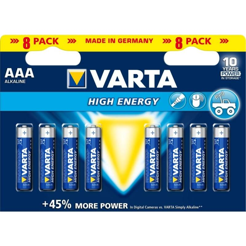 Batéria alkalická Varta High Energy, AAA, 8 ks
