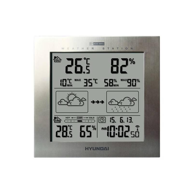 Meteorologická stanice Hyundai WS 2244 M stříbrná + Hyundai záruka 40 měsíců