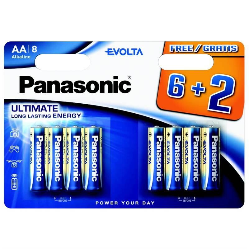 Batéria alkalická Panasonic Evolta AA, LR06, blistr 6+2ks (LR6EGE/8BW 6+2F)