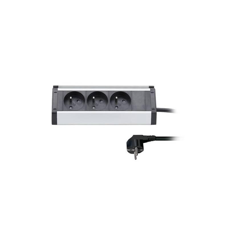 Kábel predlžovací Solight 3x zásuvka, rohový design, 1,5m (PP104) strieborný + Doprava zadarmo
